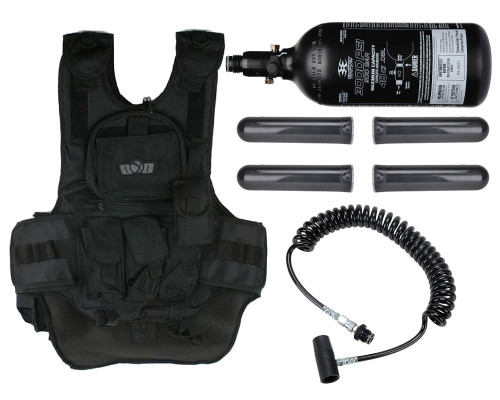 Gen X Global Deluxe Tactical Paintball Vest with Remote Line and 47 ci 3000 psi CO2 Tank