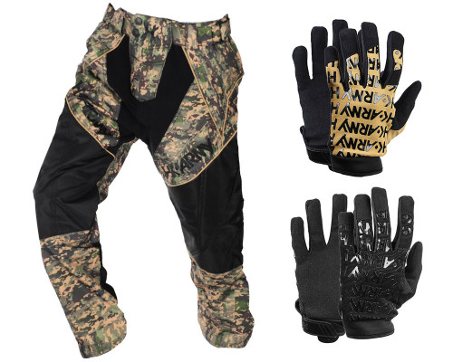 HK Army HSTL Tournament Paintball Pants w/ HSTL Gloves Combo Pack - Camo
