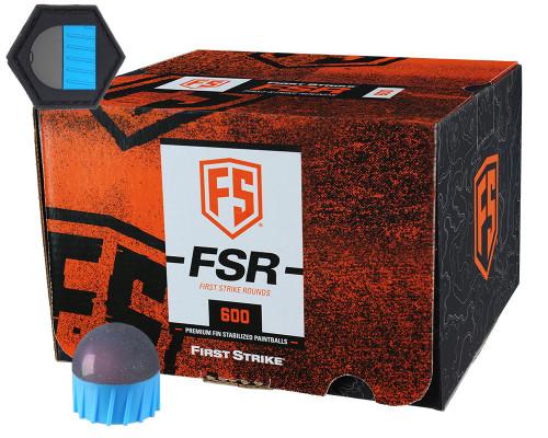 First Strike .68 Caliber Paintballs - FSR - 600 Rounds w/ Free Velcro Patch - Smoke/Blue Shell Pink Fill