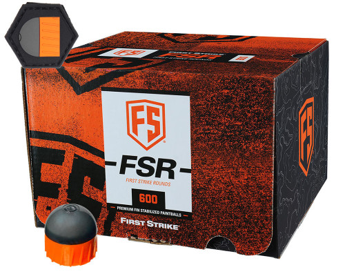 First Strike .68 Caliber Paintballs - FSR - 600 Rounds w/ Free Velcro Patch - Smoke/Orange Shell Orange Fill