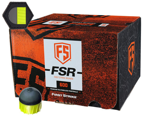 First Strike .68 Caliber Paintballs - FSR - 600 Rounds w/ Free Velcro Patch - Smoke/Yellow Shell Yellow Fill