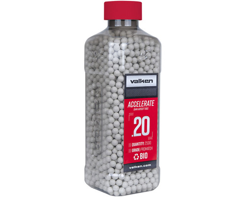 .20g Biodegradable Airsoft BB's - 2500 Count - Valken Accelerate (White) (93313)