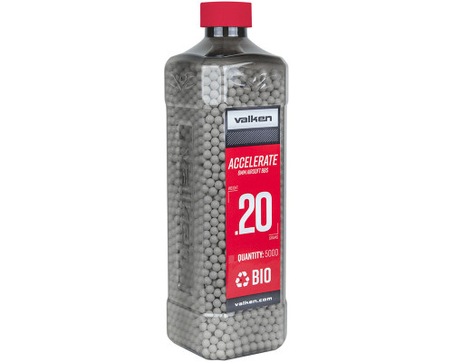 .20g Biodegradable Airsoft BB's - 5000 Count - Valken Accelerate (White) (93320)