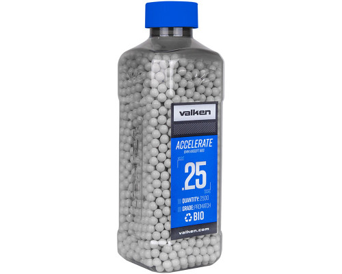 .25g Biodegradable Airsoft BB's - 2500 Count - Valken Accelerate (White) (93368)