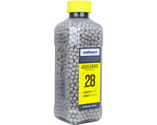.28g Airsoft BB's - 2500 Count - Valken Accelerate (White) (93436)