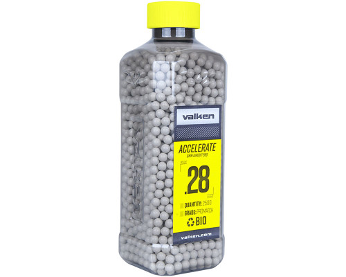 .28g Bio Airsoft BB's - 2500 Count - Valken Accelerate (White) (93412)