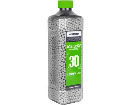 .30g Airsoft BB's - 5000 Count - Valken Accelerate (White) (93481)