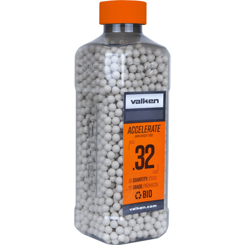 .32g Biodegradable Airsoft BB's - 2500 Count - Valken Accelerate (White) (93498)