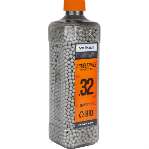 .32g Biodegradable Airsoft BB's - 5000 Count - Valken Accelerate (White) (93504)