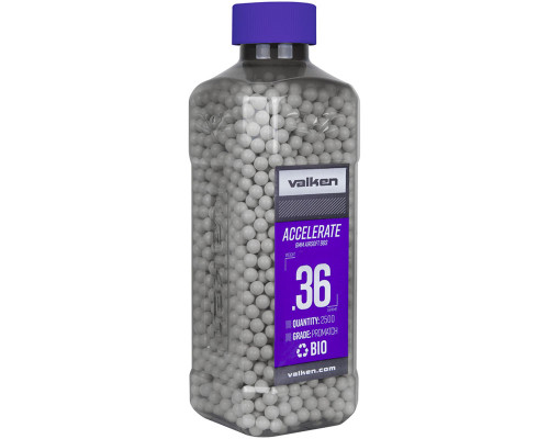 .36g Biodegradable Airsoft BB's - 2500 Count - Valken Accelerate (White) (93528)