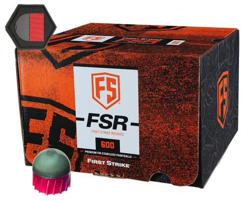 First Strike .68 Caliber Paintballs - FSR - 600 Rounds w/ Free Velcro Patch - Smoke/Fire Red Shell Yellow Fill