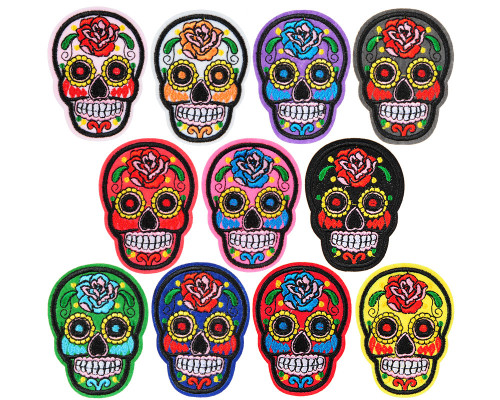 Warrior Velcro Patch - Embroidered - Sugar Skull (11-Pack)