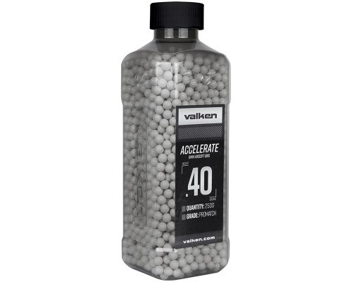 .40g Airsoft BB's - 2500 Count - Valken Accelerate (White) (93535)