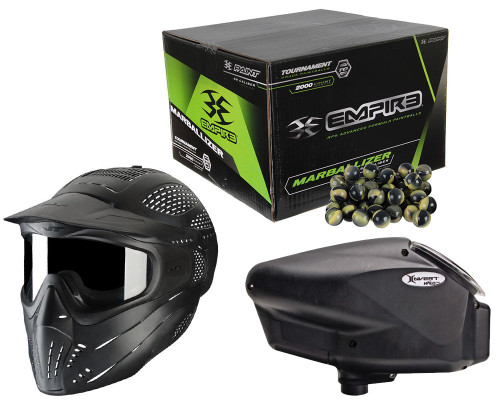 Empire Halo TOO SE Electronic Paintball Loader, JT Premise Goggles & Empire Marballizer 2000 Round Combo Pack