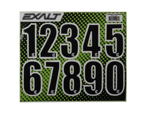 Paintball Sticker Sheet - Exalt Loader Numbers (Black)