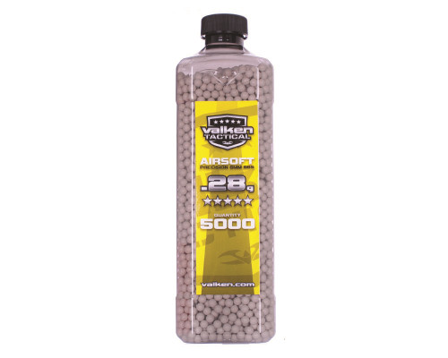 .28g Airsoft BB's - 5000 Count - Valken Tactical (White)