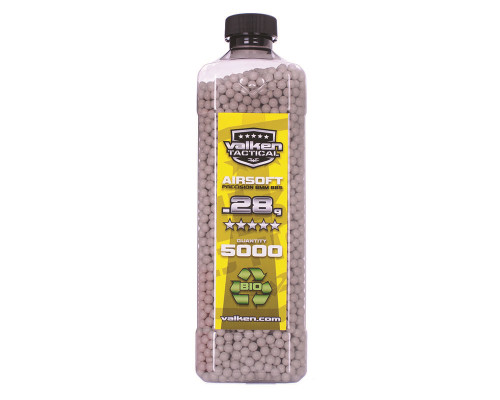 .28g Biodegradable Airsoft BB's - 5000 Count - Valken Tactical (White)