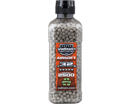 .32g Biodegradable Airsoft BB's - 2500 Count - Valken Tactical (White)