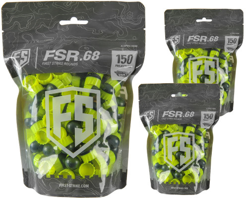 First Strike .68 Caliber Paintballs - FSR - 450 Rounds - Smoke/Yellow Shell Yellow Fill