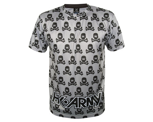 HK Army T-Shirt - All Over Dri Fit - Grey with Black Skulls