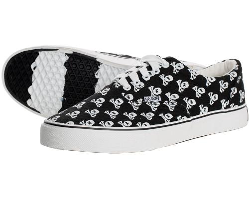 HK Army Skull Black Canvas Sneakers