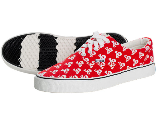 HK Army Skull Red Canvas Sneakers