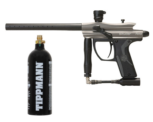 Kingman Spyder Fenix Paintball Gun w/ Free 20oz CO2 Tank - Silver Grey