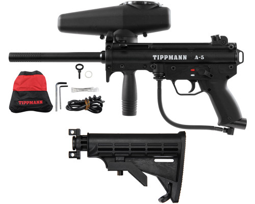 Tippmann Gun Package Kit - A5 Semi Auto - Warrior Collapsible Stock