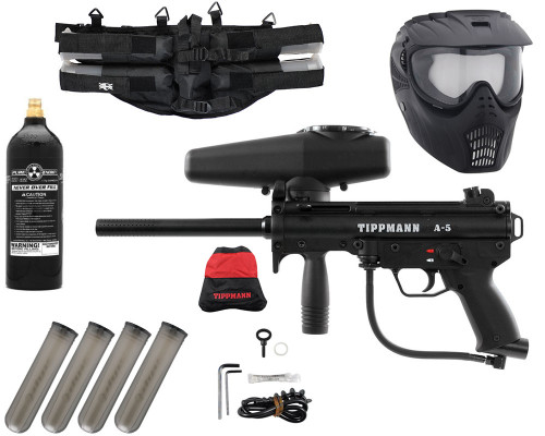 Gun Package Kit - Tippmann A5 w/ 4+1 Harness, 20oz CO2 Tank & GxG Mask