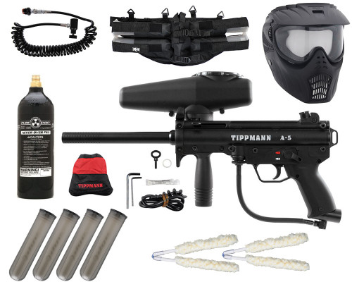 Gun Package Kit - Tippmann A5 w/ 4+1 Harness, 20oz CO2 Tank, GxG Mask & Remote Line