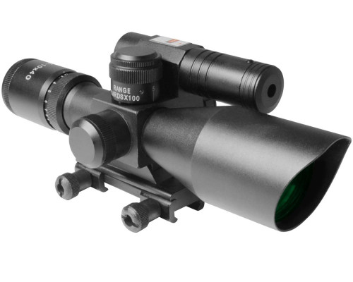 Aim Sports 2.5-10x40mm Titan Series Green Laser Rifle Scope w/ Mil-Dot Reticle (JDNG251040G-N)