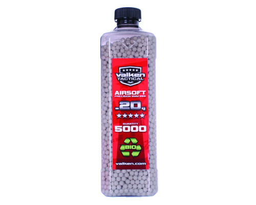 .20g Biodegradeable Airsoft BB's - 5000 Count - Valken Tactical (White)