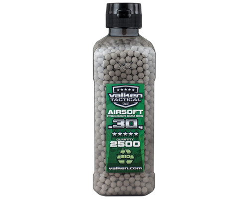 .30g Biodegradeable Airsoft BB's - 2500 Count - Valken Tactical (White)