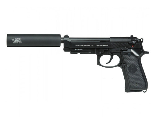 SOCOM Gear Gas Blow Back Airsoft Hand Gun - SOF M9 w/ Gemtech Trinity Barrel Extension (Black)