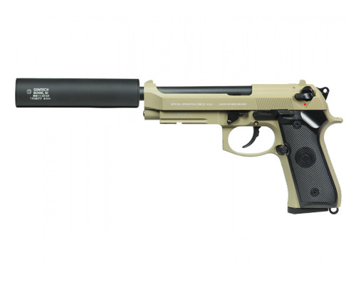 SOCOM Gear Gas Blow Back Airsoft Hand Gun - SOF M9 w/ Gemtech Trinity Barrel Extension (Tan)