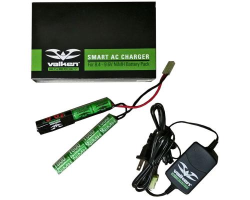 Valken Energy Airsoft Battery & Charger Kit - 9.6v 1600mAH (Nunchuck) & 8.4v-9.6v Smart Charger