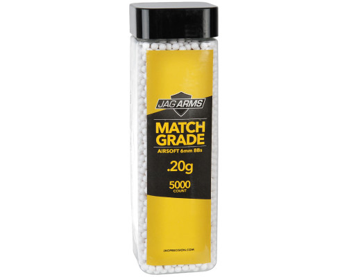 .20g Airsoft BB's - 5000 Count - Jag Arms Match Grade (White)