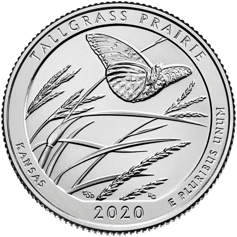 2020 #55 Denver Kansas Tallgrass America the Beautiful Quarter Uncirculated Roll