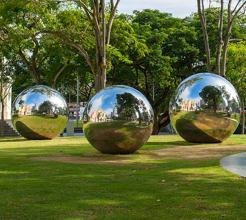 Giant Custom Stainless Steel Spheres in Park