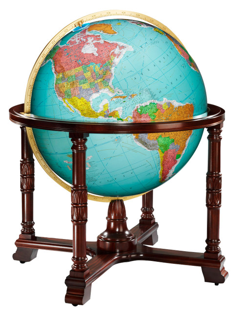 "The Diplomat 32"" Blue Ocean Illuminated Floor Globe"