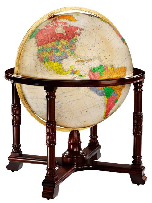"""The Diplomat 32"""" Antique Ocean Illuminated Floor Globe"""