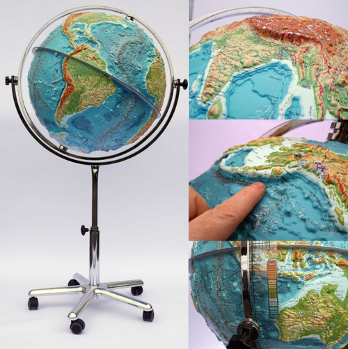 Extreme relief world globe
