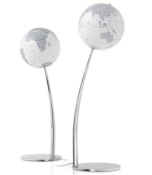 Stem Reflection Illuminated Floor Globe - White Oceans - from Atmosphere Globemakers