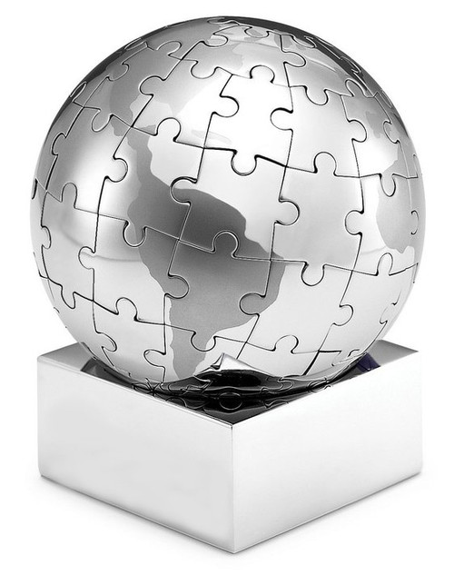 Stainless Steel Magnetic Globe Puzzle