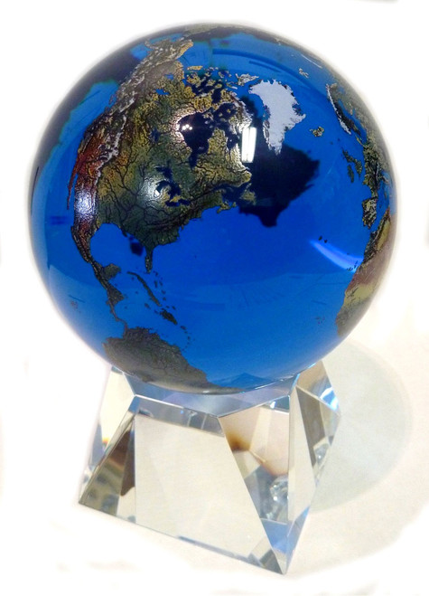 "6"" Solid Blue Crystal Globe with Natural Earth Continents"