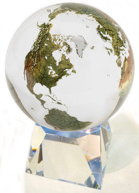"6"" Solid Clear Crystal Globe with Natural Earth Continents"