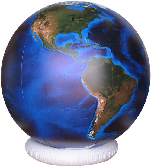 """Blue Marble"" - Inflatable Globe with Topography & Bathymetry - 36"""