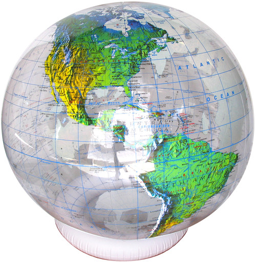 "36"" Clear Ocean Topographical Inflatable Globe"
