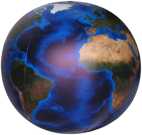 """Blue Marble"" - Inflatable Globe with Topography & Bathymetry - 16"""