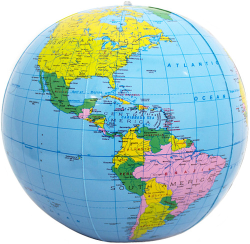 "12"" Dark Blue Inflatable Political Globe"